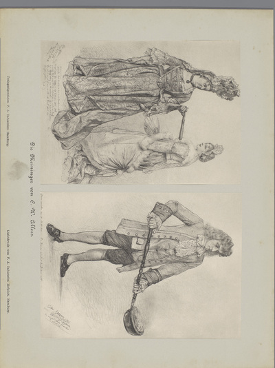 Twee fotoreproducties van tekeningen, voorstellende twee actrices in historisch kostuum en een acteur in historisch kostuum met een beddenpan; Die Meininger von C. W. Allers