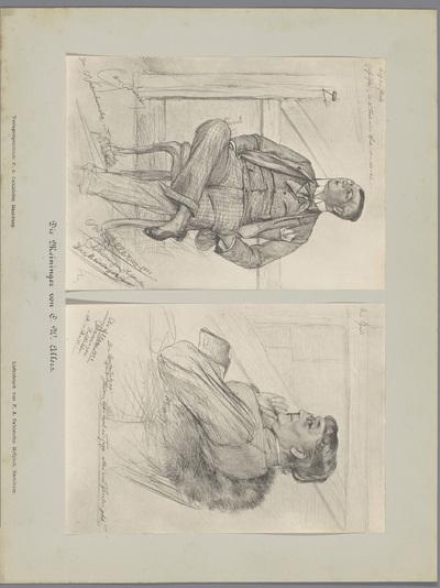 Twee fotoreproducties van tekeningen, voorstellende portretten van een acteur in kostuum met een monocle en een actrice in een stoel; Die Meininger von C. W. Allers