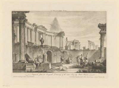 Figuren temidden van Romeinse ruïnes; A View of Roman Ruins