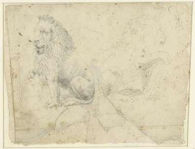 Twee studies naar een beeld van een leeuw