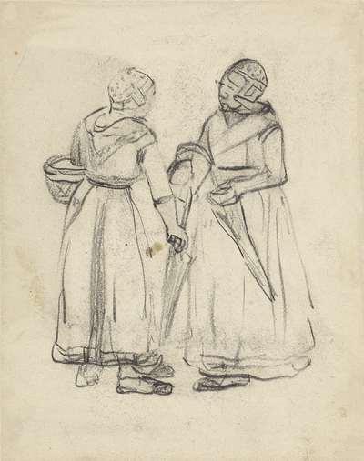 Twee staande vissersvrouwen, in gesprek