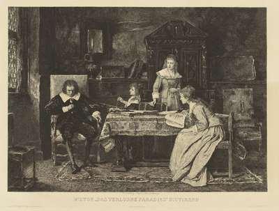 """Milton in een armstoel gezeten dicteert aan eene zijner dochters zijn """"paradise lost"""". In den r.o.h Munkacsy in 1878. In het marge: Ch. Courty d'aprs Munkacsy Milton das verlorne Paradies dictirend, enz"""