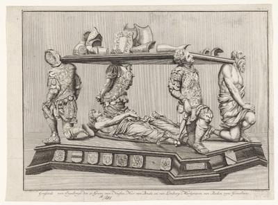 Praalgraf van Engelbrecht II van Nassau en zijn vrouw Cimburga van Baden; Grafstede van Engelbregt den 11. Grave van Nassau, Heer van Breda, en van Limburg Markgravin van Baden, zyne Gemalinne