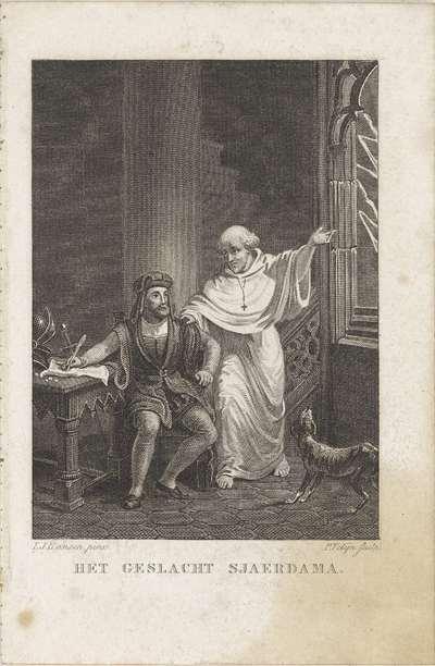 Geestelijke bij een schrijvende man aan een tafel; Het geslacht sjaerdama