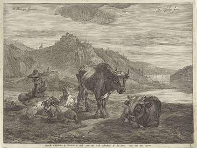Image from object titled Rivierlandschap met rustende herder en kudde | Landschappen met koeien