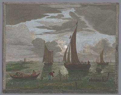 Gezicht op een kust met schepen en boten op het water bij maanlicht; 1er. Clair de lune