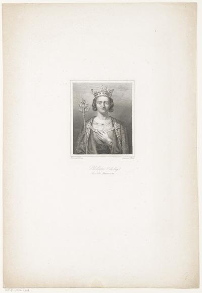 Portret van Filips V, koning van Frankrijk; Philippe V (le long) Roi de France + 1322