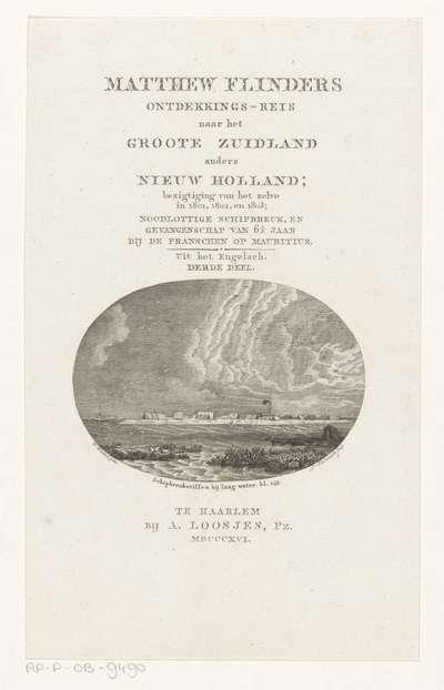 Tenten op een zandbank; Schipbreuksriffen bij laag water; Titelpagina voor: Matthew Flinders, Ontdekkings-reis naar het Groote Zuidland anders Nieuw Holland, 1816