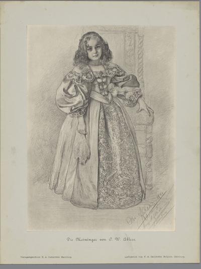Fotoreproductie van een tekening, voorstellende een jonge actrice in historisch kostuum; Die Meininger von C. W. Allers