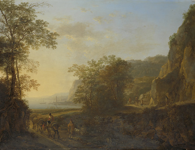 Image from object titled Italian Landscape with a View of a Harbor