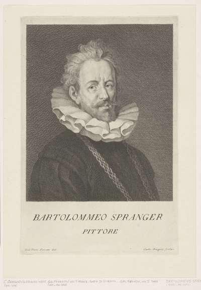 Portret van kunstenaar Bartholomeus Spranger; Portretten van kunstenaars
