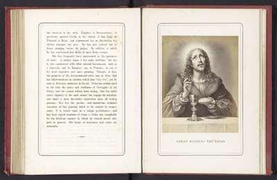 Fotoreproductie van een schilderij van Christus die het brood zegent door Carlo Dolci; Christ blessing the bread