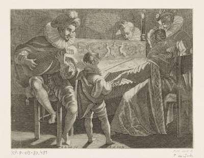 Musicerend gezelschap bij toortslicht, ca. 1600