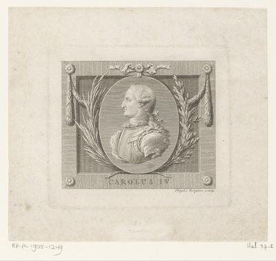 Medaillon met dubbelportret van Karel IV, koning van Spanje, en gemalin; Oratie op de begrafenis van Karel III van Spanje