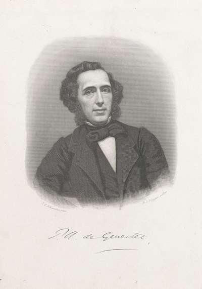 Portret van de dichter en predikant Petrus Augustus de Génestet