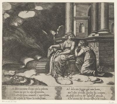Psyche ontvangt de kruik met Proserpina's schoonheid; Verhaal van Amor en Psyche