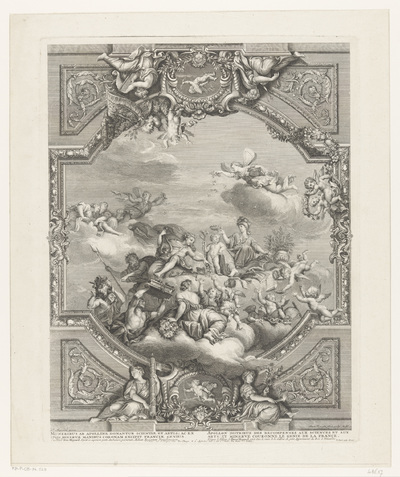 Plafondschildering in Versailles: Apollo deelt beloningen uit aan Kunsten en Wetenschappen, Minerva kroont het genie van Frankrijk