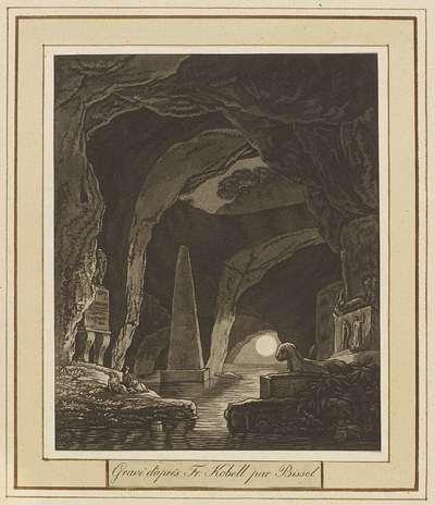 Meer in een grot met antieke monumenten; Landschappen