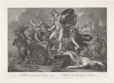 Achilles sleept het lijk van Hector achter zijn wagen; Achilles in exanimem Hectora saevit / Achilles vents his rage on Hector