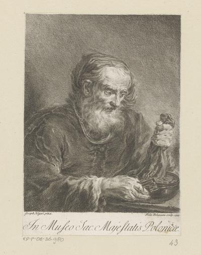 Oude man schudt zak geld leeg, mogelijk de heilige Petrus
