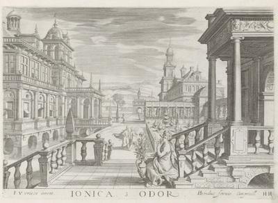 Portaal van een gebouw met Ionische zuilen en het zintuig reuk; Ionica Odor; De vijf zintuigen; Architectura