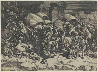 Veldslag tussen Romeinen en Carthagers; Slag met een hartsvanger; Battle with a Cutlass
