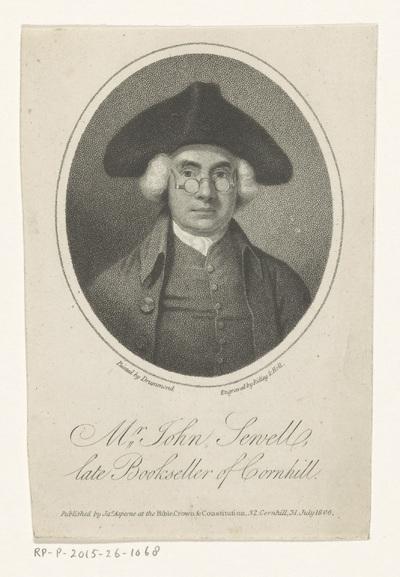 Portret van John Sewell, boekverkoper te Londen; Mr John Sewell, late Bookseller of Cornhill