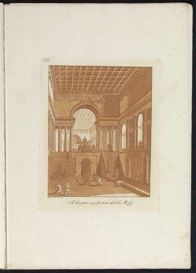 Kerkinterieur met crypte, triomfboog en cassettenplafond; Raccolta di dissegni originali di Mauro Tesi
