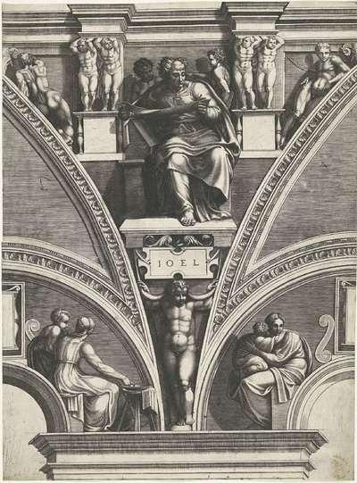 Profeet Joël; Schilderingen in de lunetten boven de ramen in de Sixtijnse Kapel