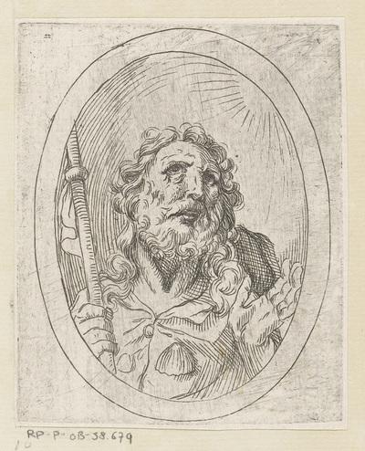 Heilige Jakobus de Meerdere; Christus, Maria en apostelen, gevat in ovalen