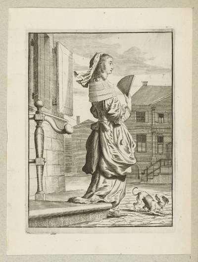 Dame met waaier, lopend op straat, gekleed volgens de mode omstreeks 1660
