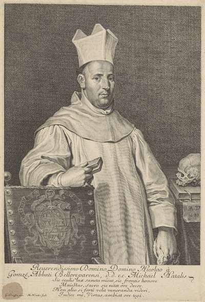 Portret van Nicolas De Gomsee, abt van Beaurepart, op 37-jarige leeftijd