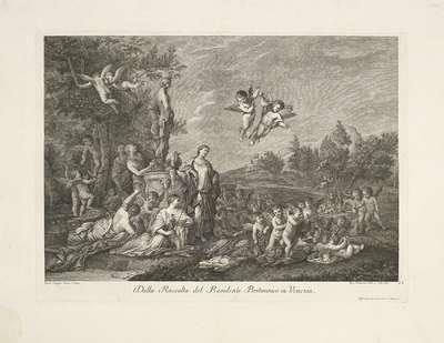 Landschap met vrouwen en putti bij standbeeld
