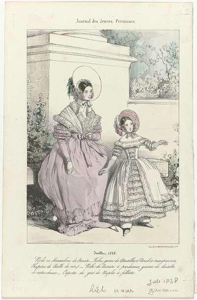 Journal des Jeunes Personnes, juillet 1838 : Robe en Mousselin (...)