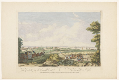 Gezicht op de stad Leith; View of Leith from the east road; Schotland