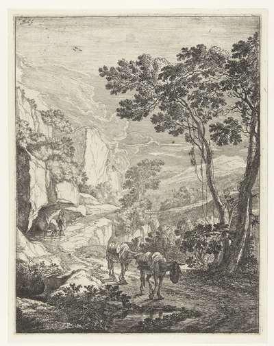 Landschap met twee muilezels voor de Rocca Aquatico bij Ancona; Italiaanse landschappen