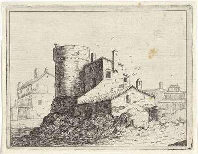 Huis tegen een ronde toren; Landschappen met ruïnes; Diversa antiquitatis vestigi (...)
