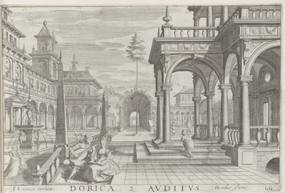 Terras van een gebouw met Dorische zuilen en het zintuig gehoor; Dorica Auditus; De vijf zintuigen; Architectura