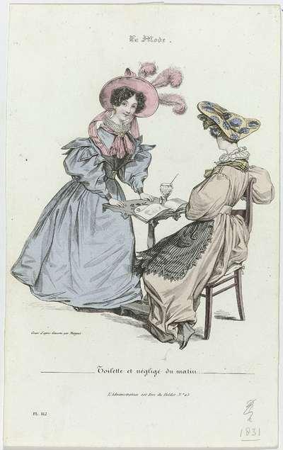 La Mode, 1831, Pl. 112, T.1 : Toilette et négligé du matin