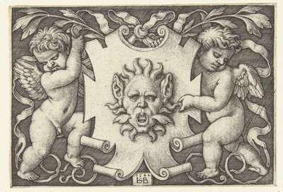 Vlakdecoratie: cartouche met een mascaron