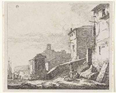 Image from object titled Gezicht op een dorp aan een haven