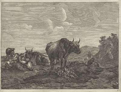 Landschap met runderen en geiten; Landschappen met koeien