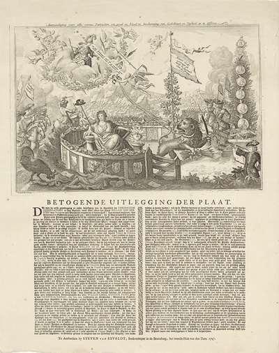 Allegorie op de verheffing van Willem IV, 1747; Aanmoediging voor alle vrome Patriotten, om goed en bloed ter bescherming van Godsdienst en Vryheid op te Offeren