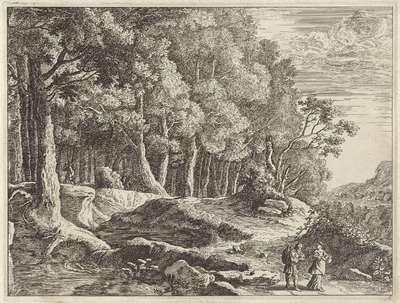 Wandelaars bij een beek; Verscheyde aerdige lantschappen (...)