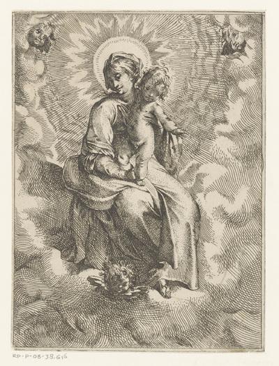 Maria met Kind in de wolken