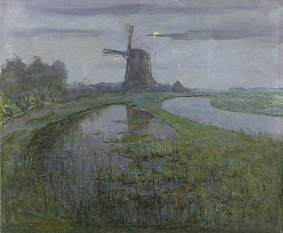 Image from object titled Oostzijdse Mill along the River Gein by Moonlight