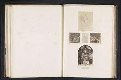 Vijf fotoreproducties van een publicatie door de Arundel Society met prenten naar Giotto en een schilderij van Giovanni Santi