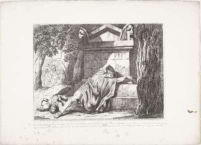 De dood van Gaius Gracchus; Cajo Gracco, abbandonato dalla plebe, si ritira in un bosco consagrato alle furie, e per non cader vivo nelle mani de suoi nemici, viene ucciso dal suo fido servo Filocrate, il quale col...