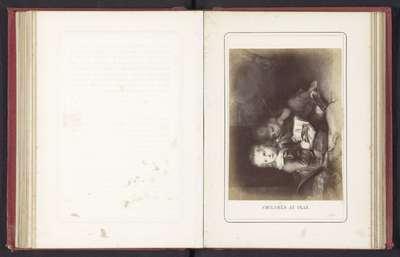 Fotoreproductie van een schilderij van twee kinderen met een boek door Christian Leberecht Vogel; Children at play
