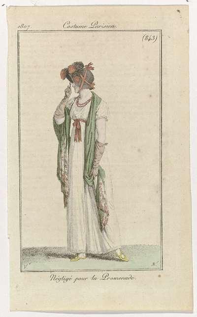 Journal des Dames et des Modes, Costume Parisien, 15 octobre 1807, (843): Négligé pour la Promenade